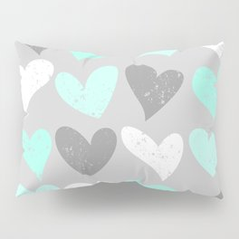Mint white grey grunge hearts Pillow Sham