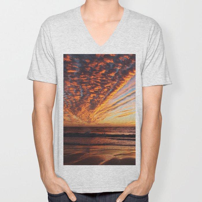 Sunset on the beach. Unisex V-Neck