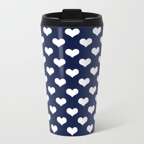 Indigo Navy Blue Hearts Metal Travel Mug