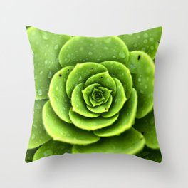 Wet Green Throw Pillow
