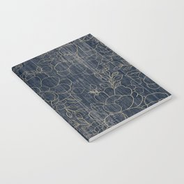 Rustic blue white wood gold floral Notebook