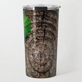 Green leaf Brown wood Travel Mug