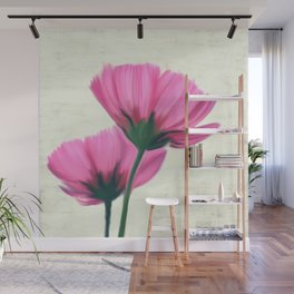 Soft pink flowers, painting Wall Mural