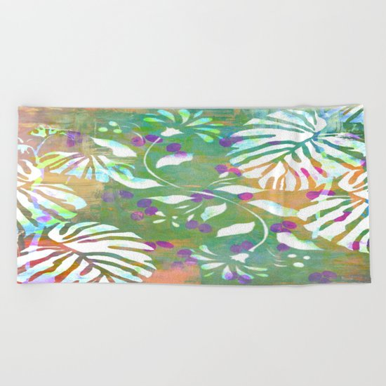 Tropical Leaf Abstract Beach Towel