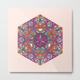 Flower of Life Sacred Geometry Star Cube Metal Print