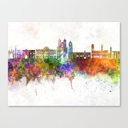 Sucre skyline in watercolor background Canvas Print
