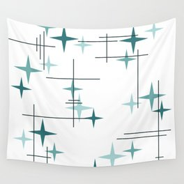 Mid Century Modern Stars (Teal) Wall Tapestry