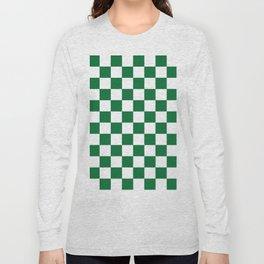 Checkered (Dark Green & White Pattern) Long Sleeve T-shirt