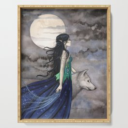 Night of the Wolf Fantasy Art Illustration by Molly Harrison Serving Tray