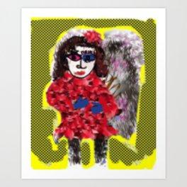 Mod Girl  In Winter Coat Art Print