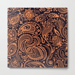 Orange on black floral paisley pattern Metal Print