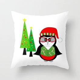 Have A Cool Penguin Merry Christmas Throw Pillow