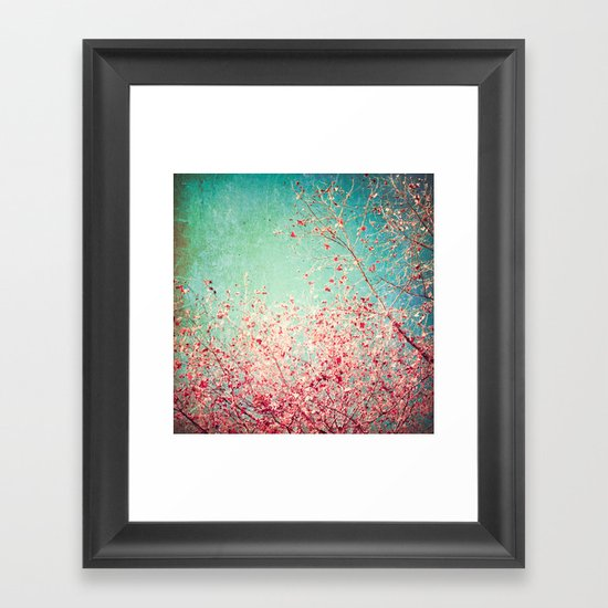 Blue Autumn, Pink leafs on blue, turquoise, green, aqua sky Framed Art Print