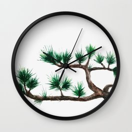 green pine tree painting Wall Clock