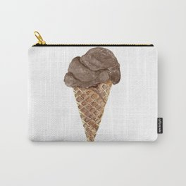 Watercolor Chocolate Ice Cream Waffle Cone Carry-All Pouch