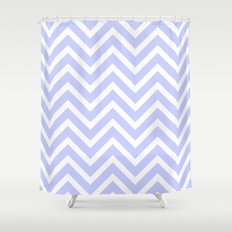 Chevron Stripes : Periwinkle Blue & White Shower Curtain