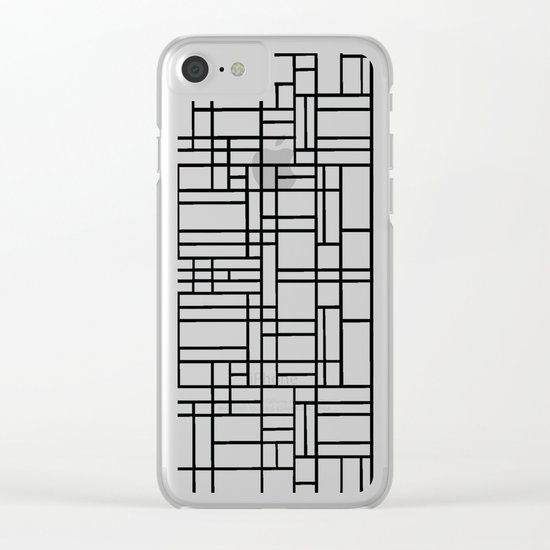 Map Outline Black on White  Clear iPhone Case