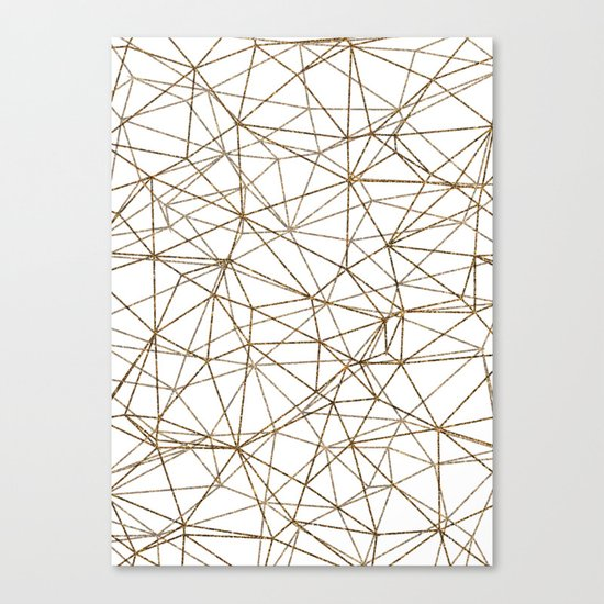 Geometric triangles glitter pattern. Modern stylish texture. Gold trendy glitter print background Canvas Print