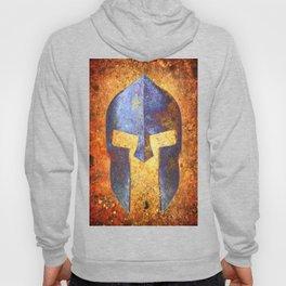 Blue Spartan Helmet On Rust Background - Molon Labe Hoody