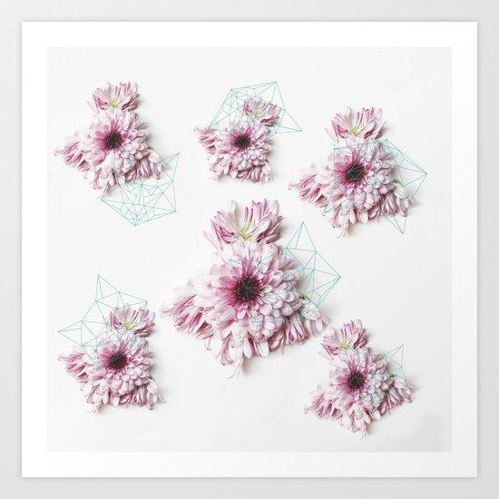 Geometry pastel flowers Art Print