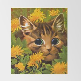 """Louis Wain's Cats """"Tabby in the Marigolds"""" Throw Blanket"""
