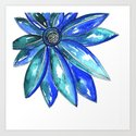 Blue Watercolor flower by kathryncole