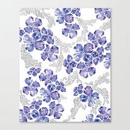 Hydrangea Blooms in Purple Canvas Print