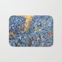 Blue Hydrangea Flowers 2, Blue Abstract, Modern Impressionism Painting Bath Mat