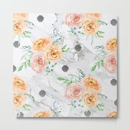 Beautiful Pastel Flowers on Marble Metal Print