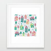 home sweet home Framed Art Prints featuring Home by One April