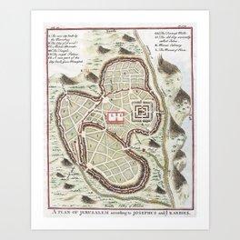 Vintage 1730 Street Map or Plan of Jerusalem Art Print