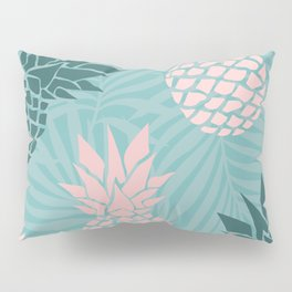 Tropical Pineapple and Palm Leaf Pattern, Teal and Pink Pillow Sham