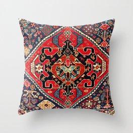 Qashqa'i Antique Fars Persian Bag Face Print Throw Pillow