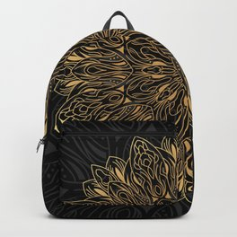 MANDALA IN BLACK AND GOLD Backpack