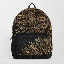 MANDALA IN BLACK AND GOLD Backpack