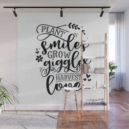Plant smiles grow giggles harvest love - Garden hand drawn quotes illustration. Funny humor. Life sayings. Wall Mural