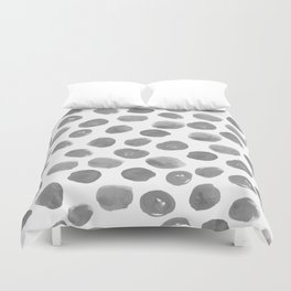 Grayson - grey and white modern brushstroke monochromatic dots abstract painting design hipster art Duvet Cover