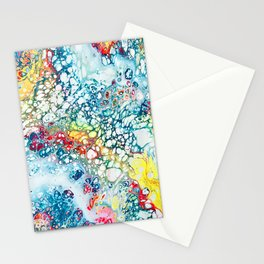 Minty Neon Rainbow Pour Stationery Cards
