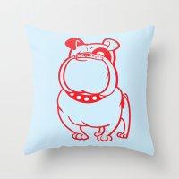 bulldog Throw Pillows featuring Bulldog by drawgood