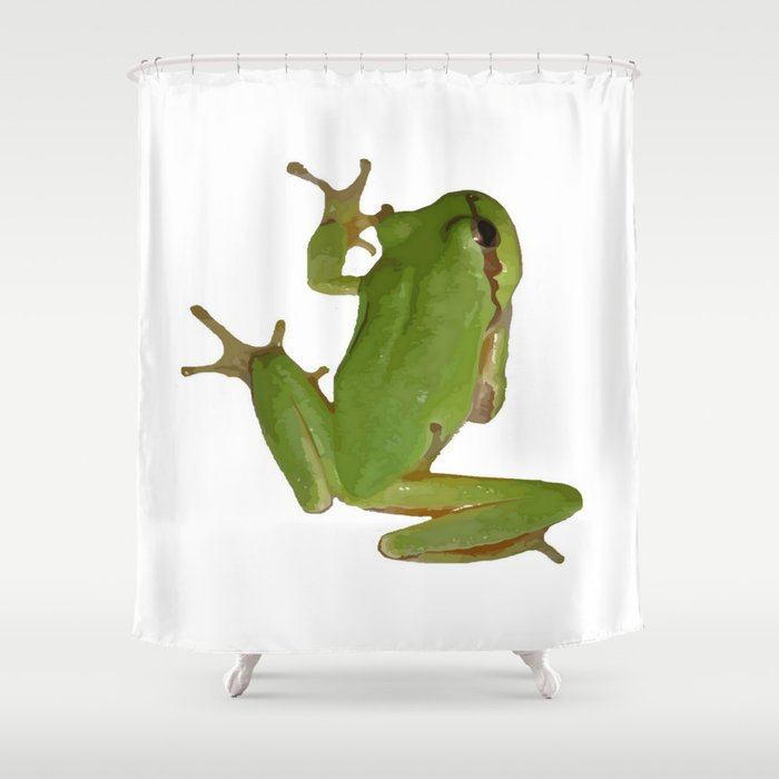 Green Tree Frog Shower Curtain By Taiche
