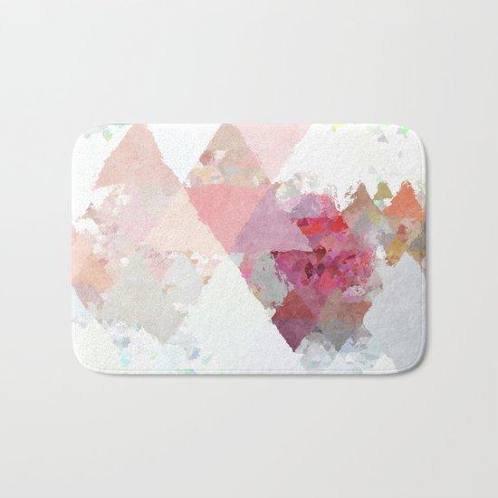 Pink white rosegold triangle pattern Bath Mat