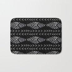 mudcloth 4 minimal textured black and white pattern home decor minimalist Bath Mat