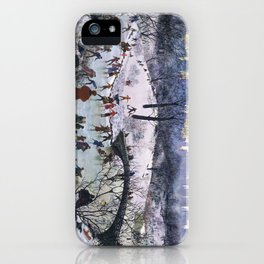 Vintage Central Park Skating Painting iPhone Case