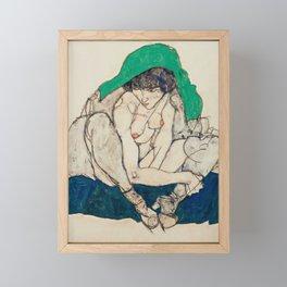 "Egon Schiele ""Crouching Woman with Green Headscarf"" Framed Mini Art Print"