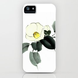 White camellia sumi ink and japanese watercolor painting iPhone Case
