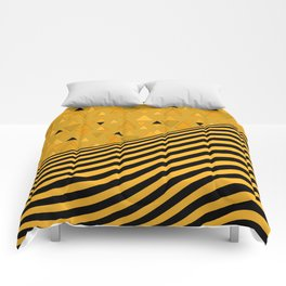 Yellow , black , striped Comforters