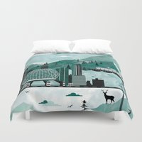 vancouver Duvet Covers featuring Vancouver Travel Poster Illustration by ClaireIllustrations