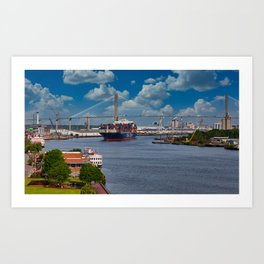 CMA CGM Freighter and Talmadge Memorial Bridge in Savannah Art Print