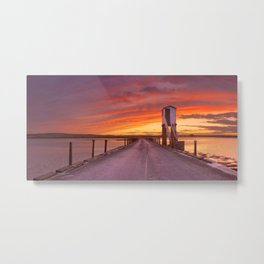 Holy Island of Lindisfarne, England causeway and refuge hut, sunset Metal Print