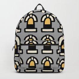 New York Windows Pattern 261 Grey Yellow Backpack